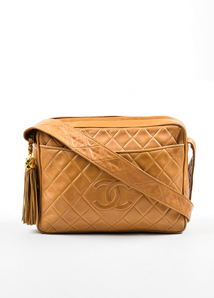 Caramel Tan Chanel Lambskin Leather Quilted 'CC' Tassel Shoulder Bag Frontview