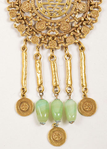 Goldette Gold Toned and Green Stone Asian Character Pendant Necklace Detail