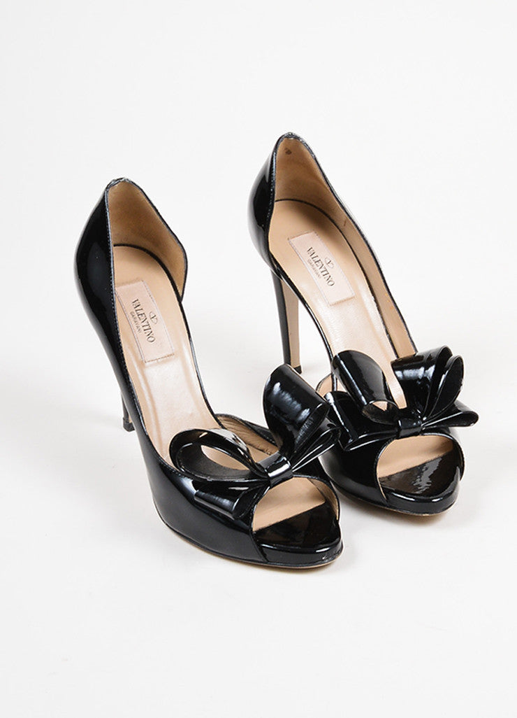 Black Valentino Patent Leather D'Orsay Bow High Heel Pumps Frontview
