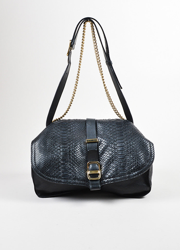 Victoria Beckham Black Python Gold Toned Chain Satchel Bag Frontview