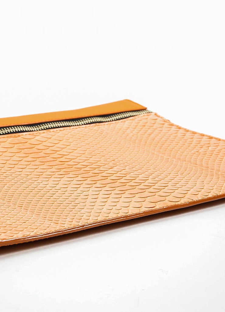 Orange Victoria Beckham Python and Buffalo Zip Oversized Pouch Clutch Bag Bottom View