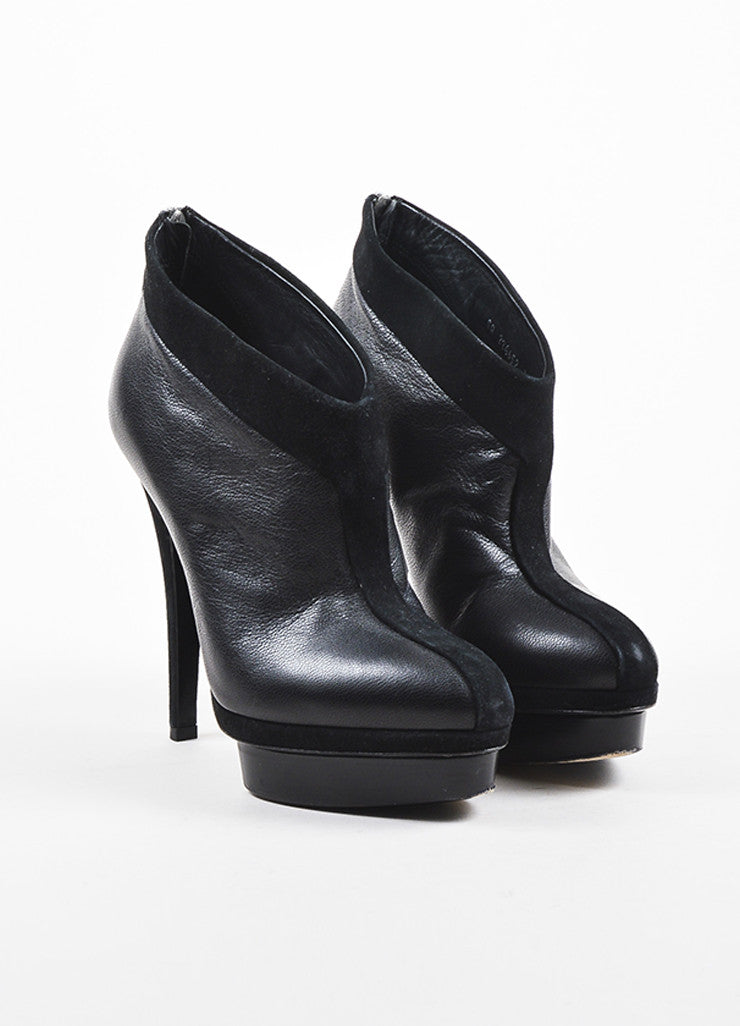 Black Yves Saint Laurent Leather Suede Platform Angled Booties Front