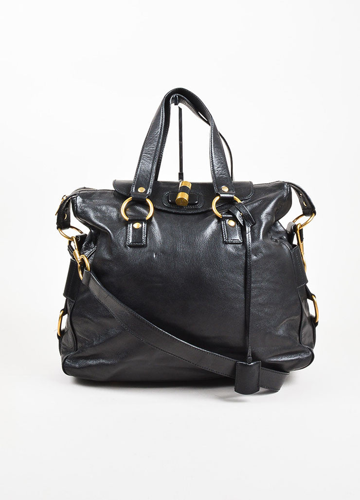 "Yves Saint Laurent Rive Gauche Black Leather ""Muse Messenger"" Satchel Bag Frontview"