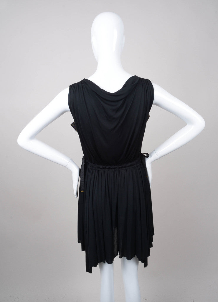 Black Louis Vuitton V Neck Sleeveless Waist Tie Jersey Dress