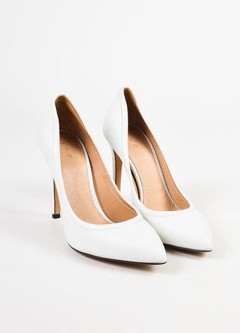 IRO White Leather Pointed Toe Pumps