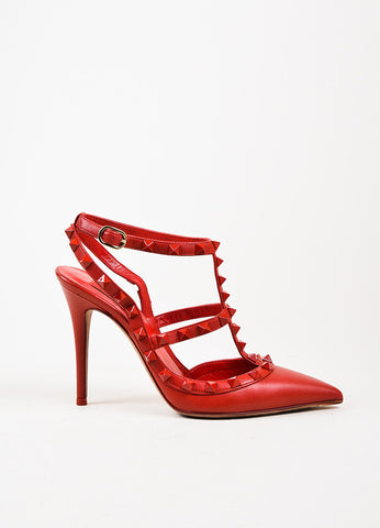 "Valentino Garavani ""Rockstud Rouge"" Red Leather Pointed Stiletto Pumps Sideview"