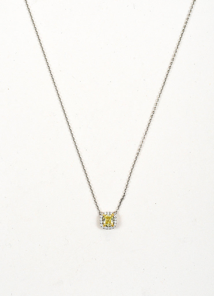 Tiffany co platinum 18k gold prong set yellow diamond necklace tiffany co platinum 18k gold prong set cushion cut yellow diamond necklace detail mozeypictures Image collections