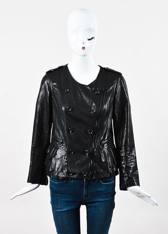 3.1 Phillip Lim Black Leather Ruffle Asymmetric Zip Collarless Jacket Front