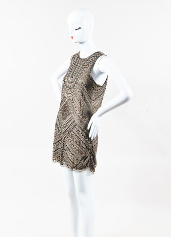 Parker Taupe and Bronze Silk Beaded Embellished Sleeveless Dress Sideview
