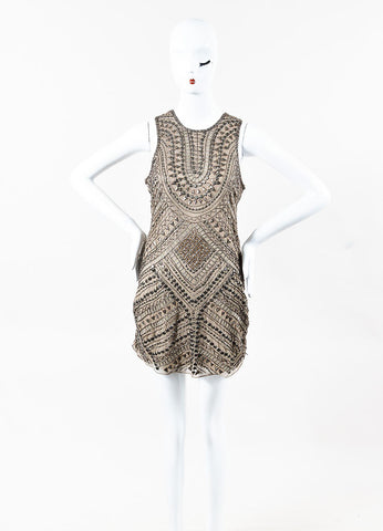 Parker Taupe and Bronze Silk Beaded Embellished Sleeveless Dress Frontview