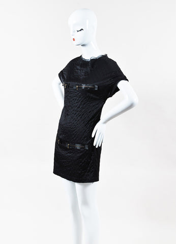 Lanvin Black Silk Quilted Zippered Short Sleeve Shift Dress Side