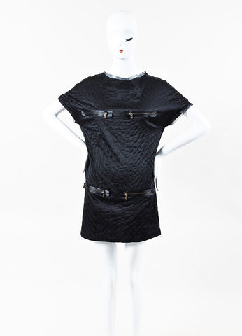 Lanvin Black Silk Quilted Zippered Short Sleeve Shift Dress Front
