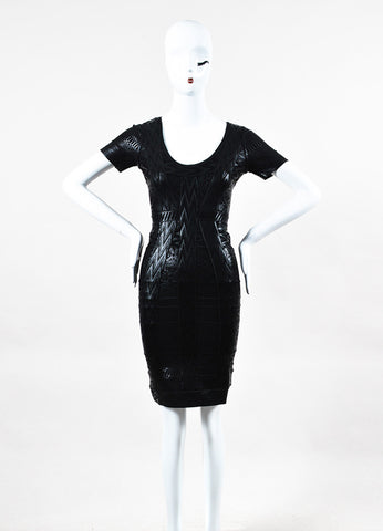 "Herve Leger ""Zuzanna"" Black Coated Knit Bodycon Dress Front"