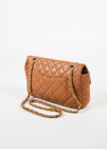 Chanel Cruise Light Brown Lambskin Leather Quilted Charm Classic Flap Bag Sideview
