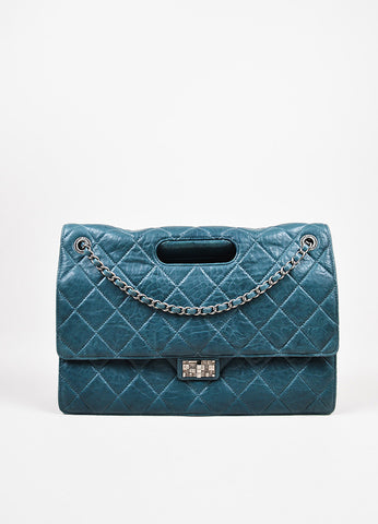"Chanel Teal Lambskin Leather Quilted Double Flap Maxi ""Takeaway"" Bag Frontview"