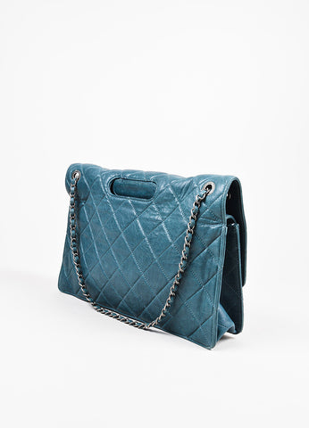 "Chanel Teal Lambskin Leather Quilted Double Flap Maxi ""Takeaway"" Bag Sideview"