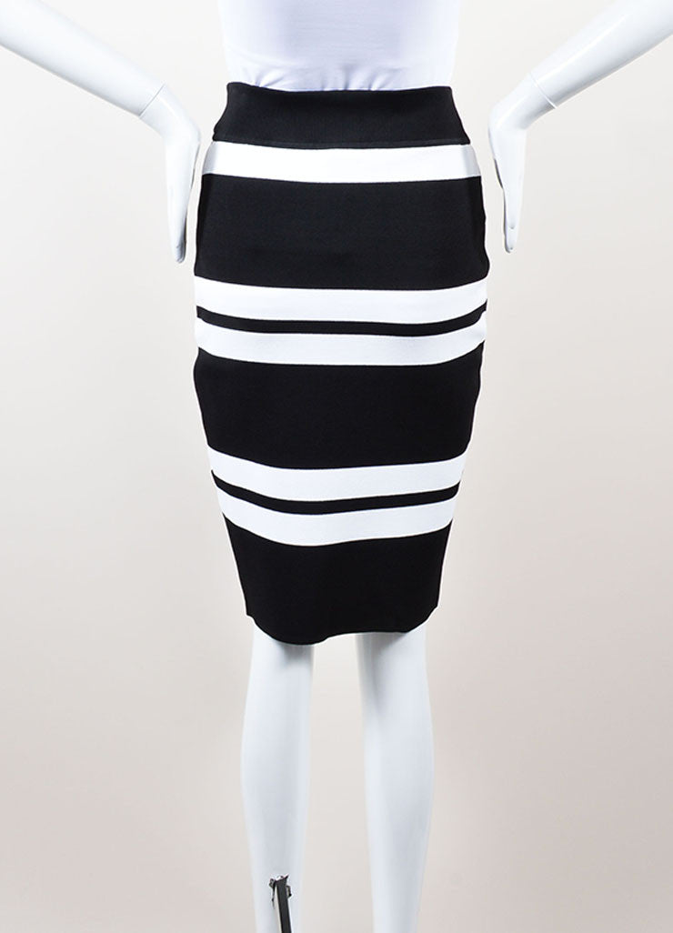 ALC Black and White Stretch Knit Striped Skirt Backview
