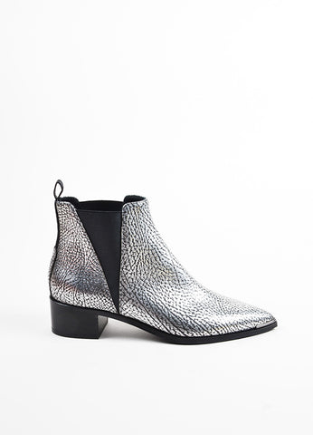 "Acne Studios Silver and Black Leather ""Jensen"" Chelsea Ankle Booties Sideview"