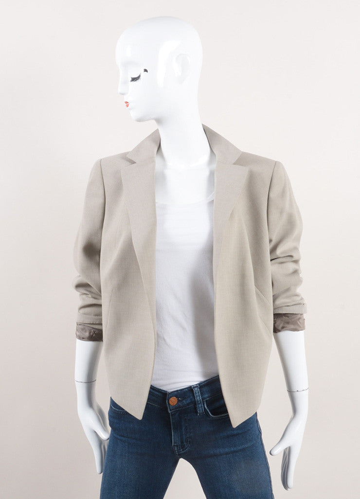 "Akris New With Tags Oatmeal Beige Open Front Short ""Spencer"" Wool Jacket Frontview"