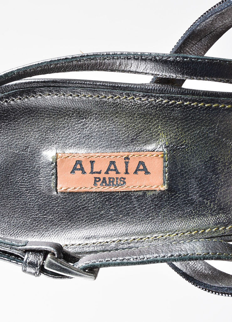 Alaia Gunmetal Leather Chain Strappy Slingback Heeled Sandals Brand