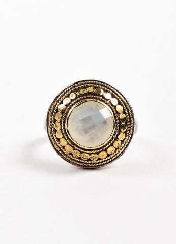"Anna Beck Sterling Silver 18K Gold Plated Rainbow Moonstone ""Gili"" Ring Frontview"