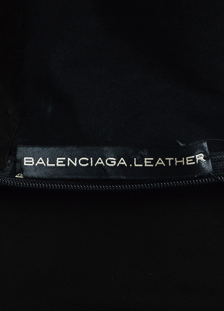 Black Balenciaga Leather and Suede Short Sleeve V-Neck Dress Brand