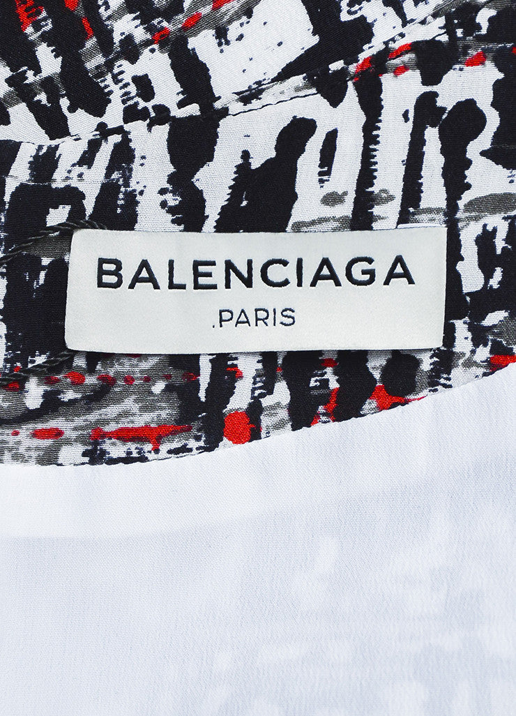 Black and Red Balenciaga Silk Splatter Print Buckle Detail Drape Top Brand