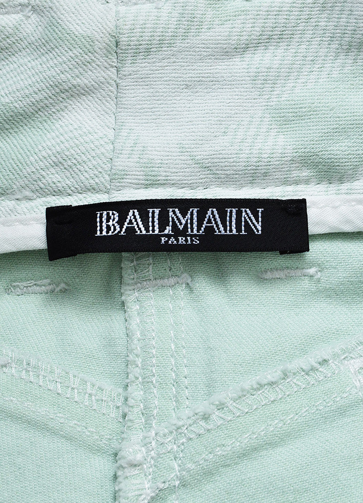 Balmain Mint Green, White, and Gold Toned Zipper Printed Skinny Jeans Brand