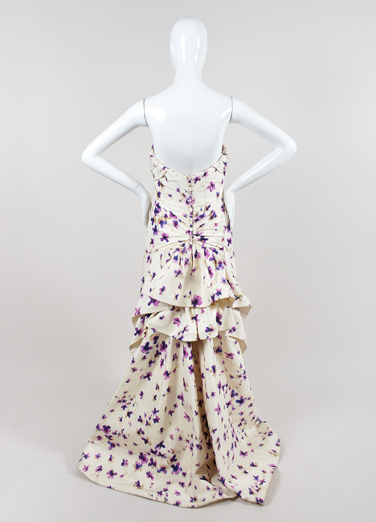 Cream and Purple Carolina Herrera Silk Floral Ruched Draped Strapless Gown Backview
