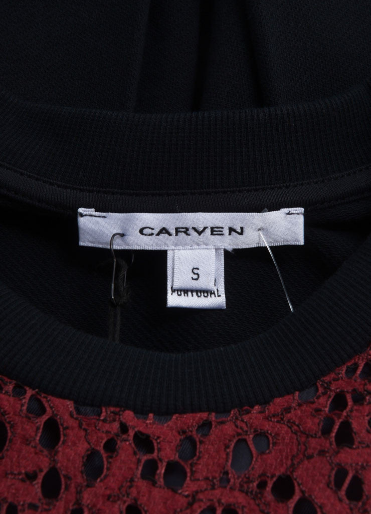 Carven New With Tags Red and Black Lace Front Long Sleeve Pullover Top Brand