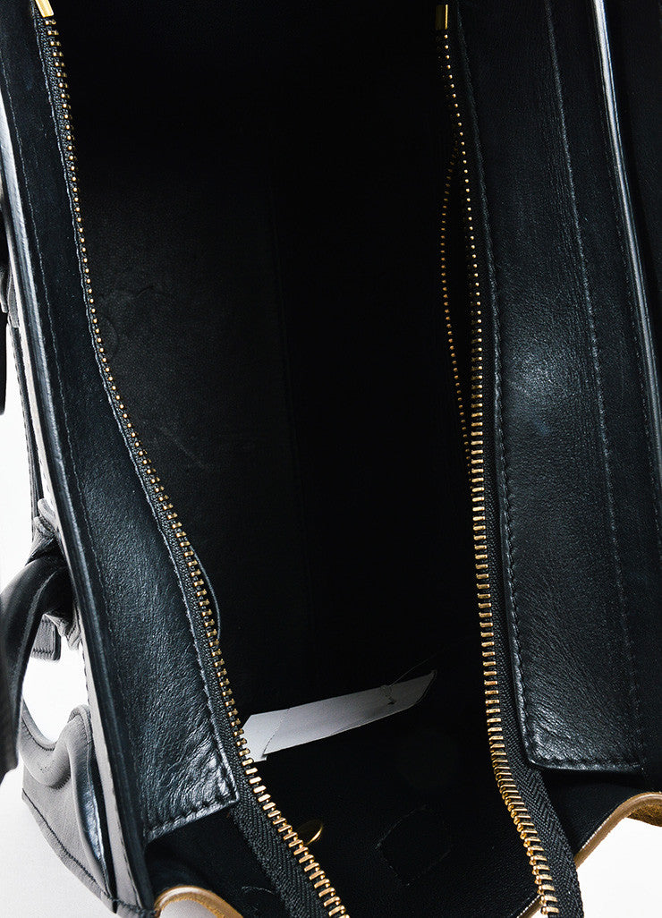 "Celine Brown, Black, and White Calfskin Leather ""Micro Luggage"" Tote Interior"