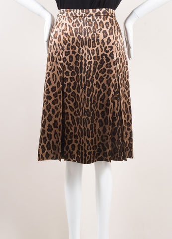 Celine New With Tags Gold, Black, and Brown Silk Leopard Print Pleated Skirt Frontview