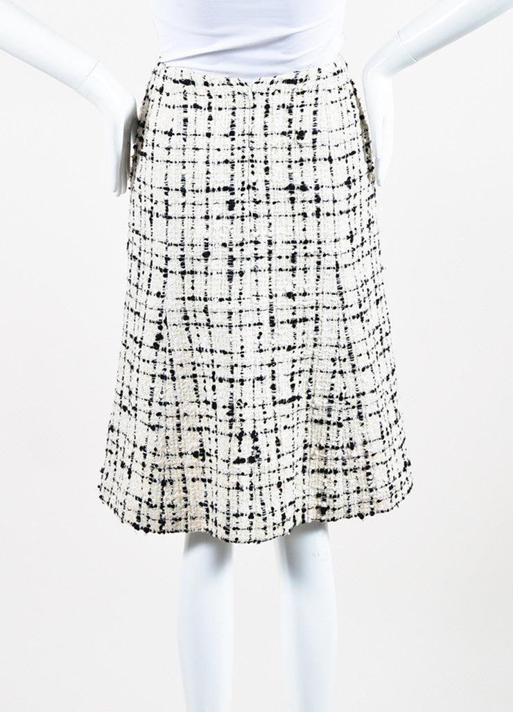 Cream and Black Chanel Wool Blend Tweed Sequin A-Line Skirt Backview