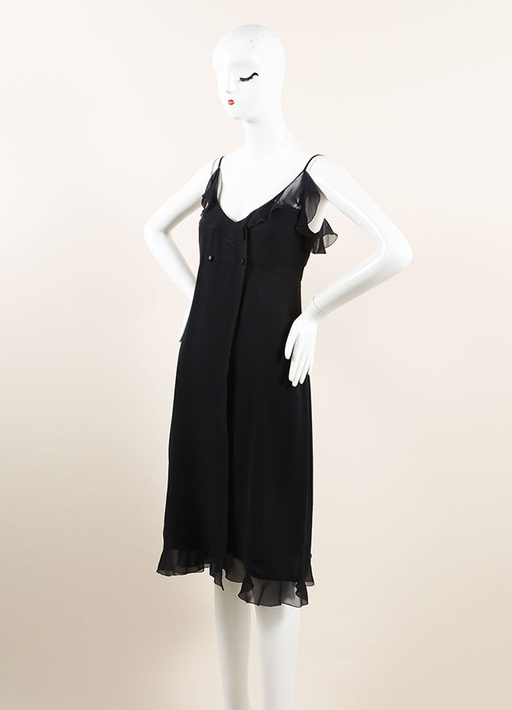 Chanel Black Silk Chiffon Ruffle Double Breasted Sleeveless Wrap Dress Sideview