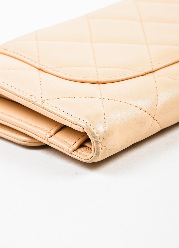 Chanel Beige Lambskin Leather Quilted Flap Wallet Detail