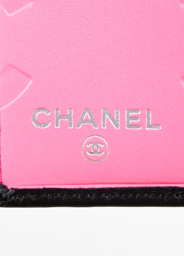 "Chanel Black and Hot Pink Leather 'CC' Quilted ""Ligne Cambon"" Square Wallet Brand"