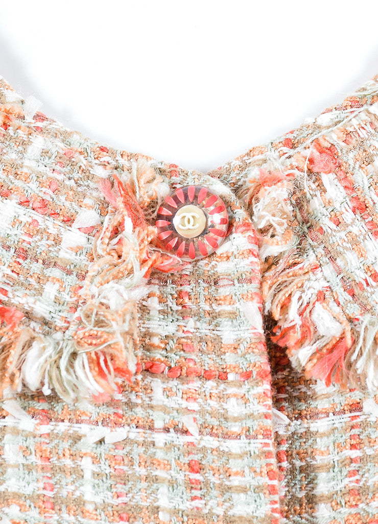 Coral and White Chanel Tweed Knit Fringe Button Blazer Jacket Detail