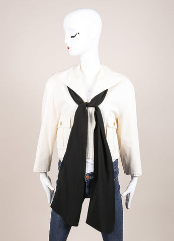 Cream Chanel Draped Collar Tie Front Cropped Jacket Front