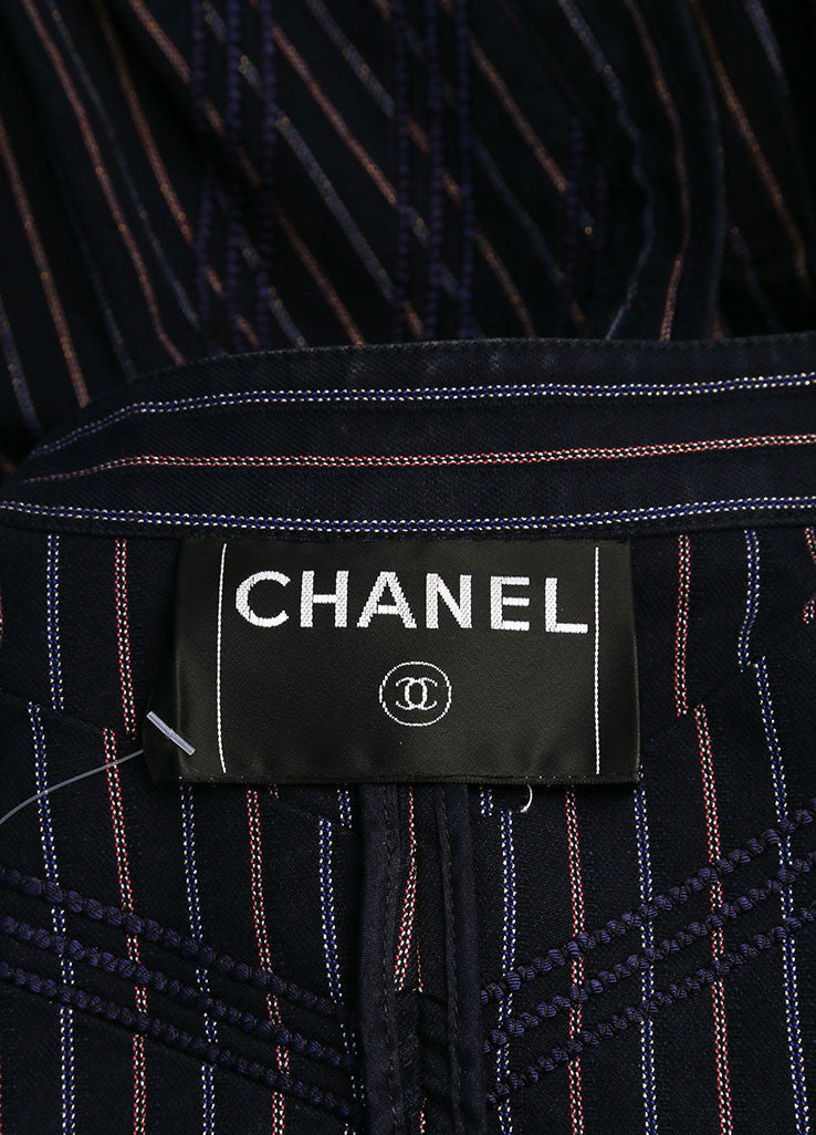 Chanel Navy and Red Striped Peplum Button Down Jacket Brand