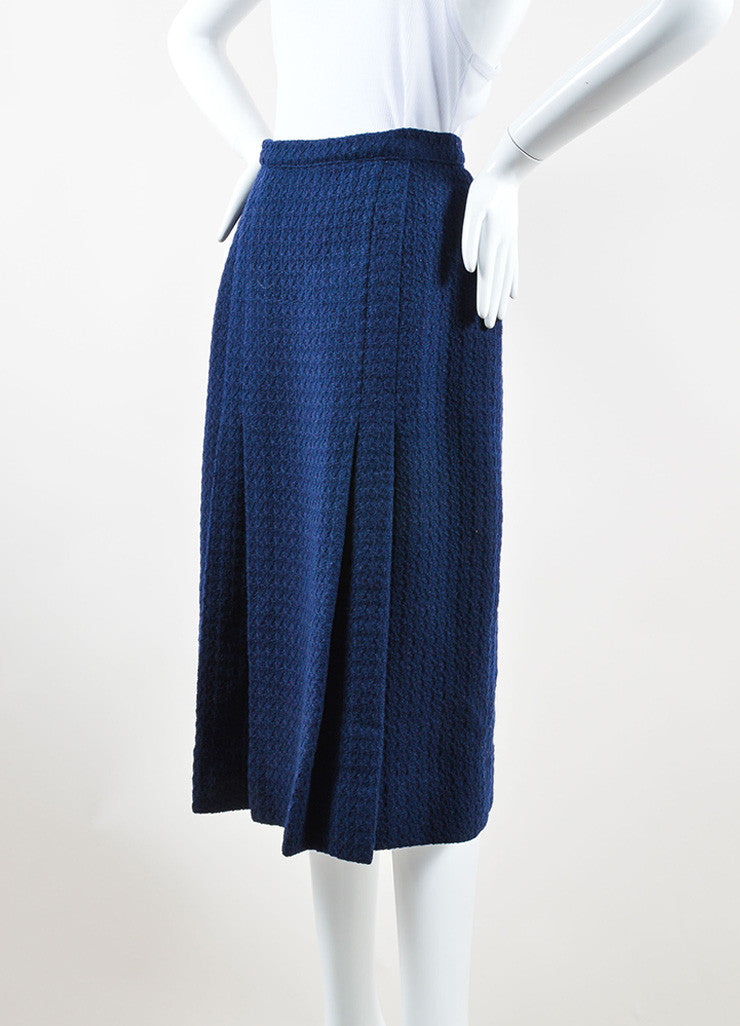 Chanel Navy Wool Tweed Midi Length Two Pleat Skirt Sideview