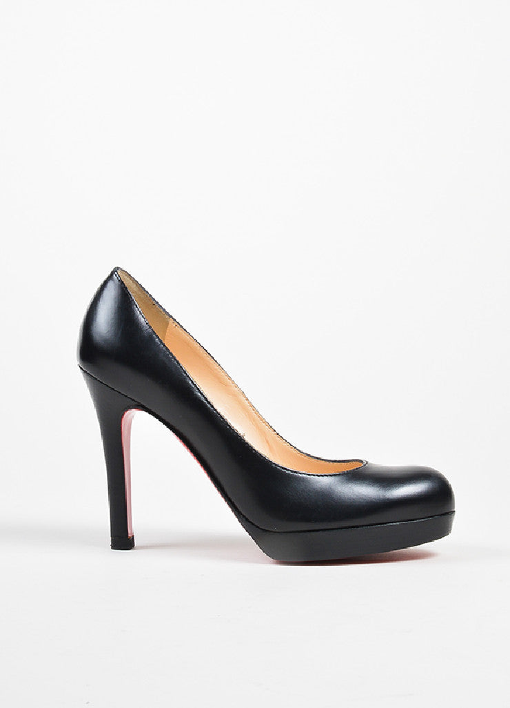 Black Christian Louboutin Leather Round Toe Platform Pumps Sideview