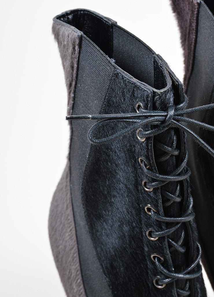 Black Grey Navy Fendi Pony Hair Lace Up Ankle Boots Detail