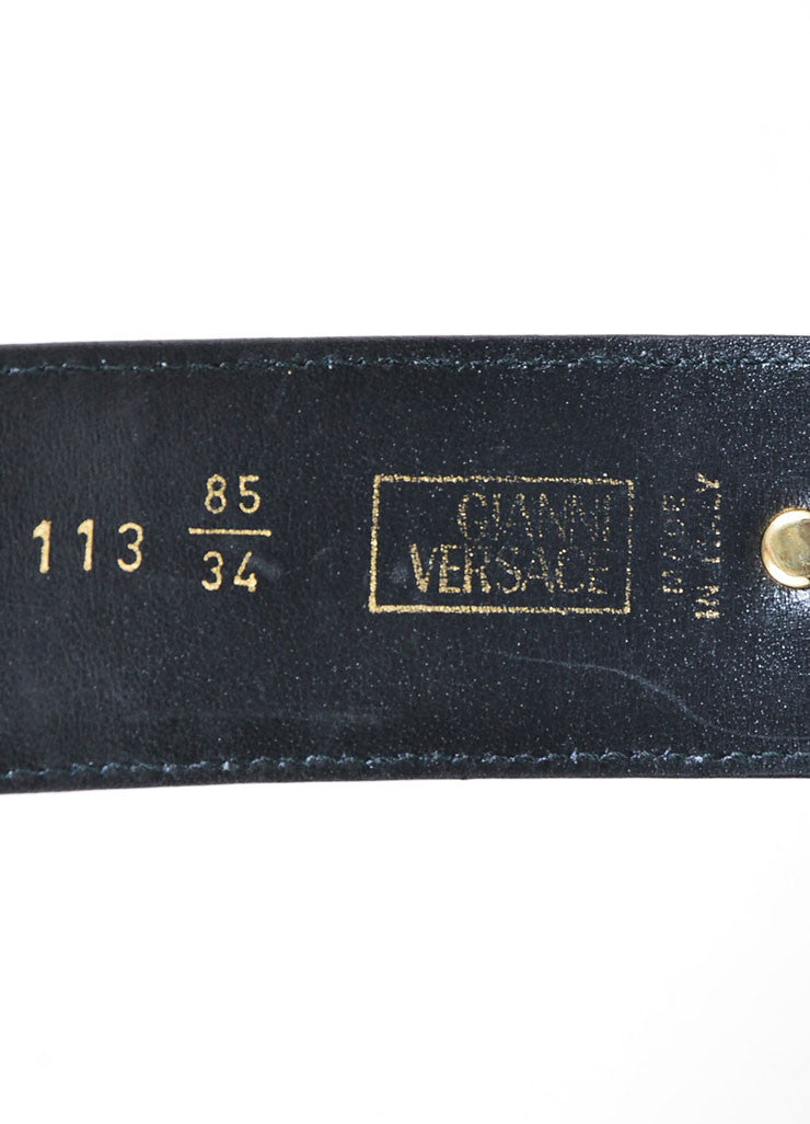 Black Gianni Versace Embossed Gold Toned Large Medallion Buckle Belt Brand