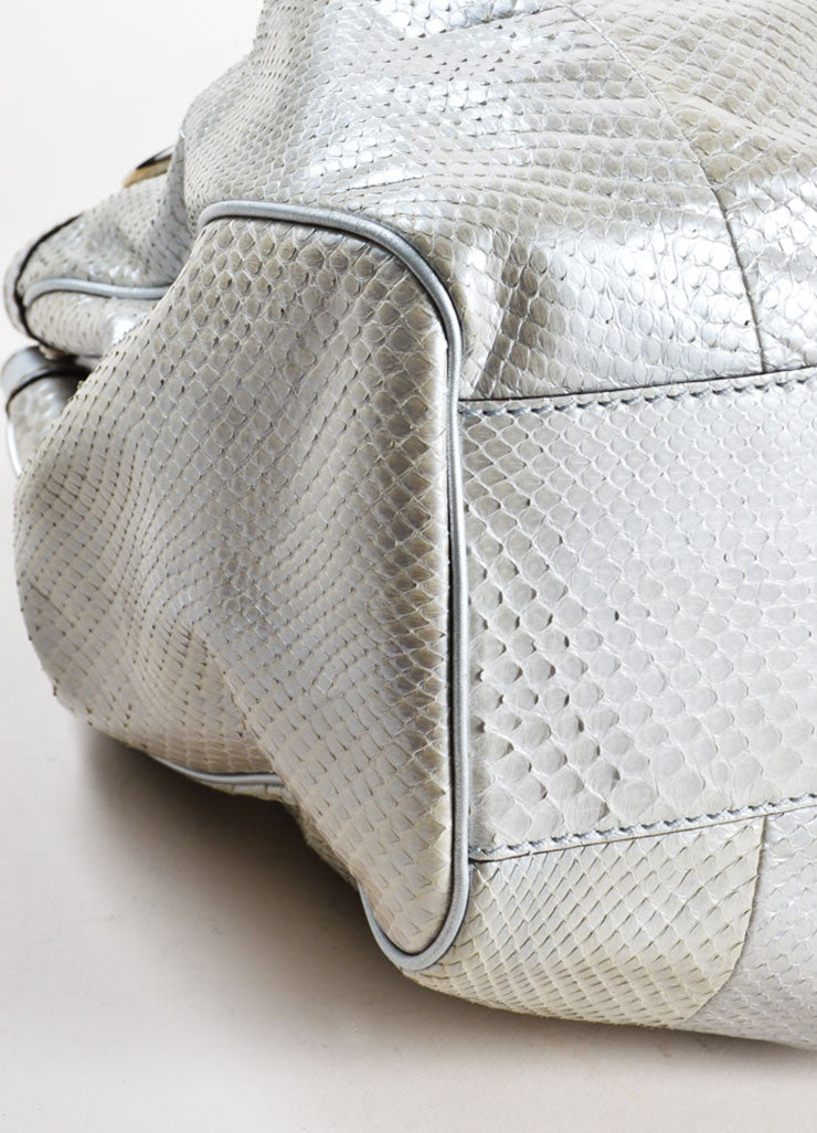 "Gucci Silver Metallic Leather Trim Python Skin Large ""Sukey"" Tote Bag Detail"