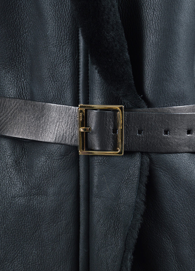 Black Gucci Leather Shearling Lined Belted Coat Detail