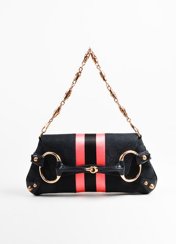 Black and Pink Gucci Canvas Horsebit Detail Convertible Clutch Bag Front