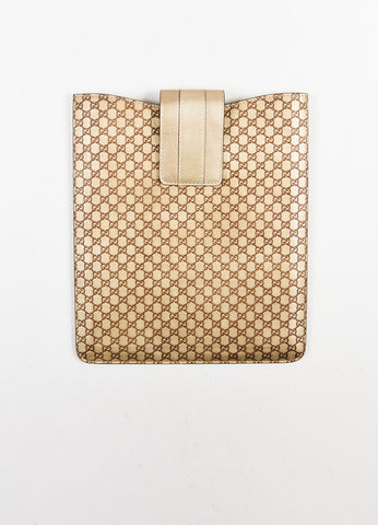 "Gucci Metallic Gold ""Guccissima"" Leather 'GG' Monogram iPad Case Frontview"