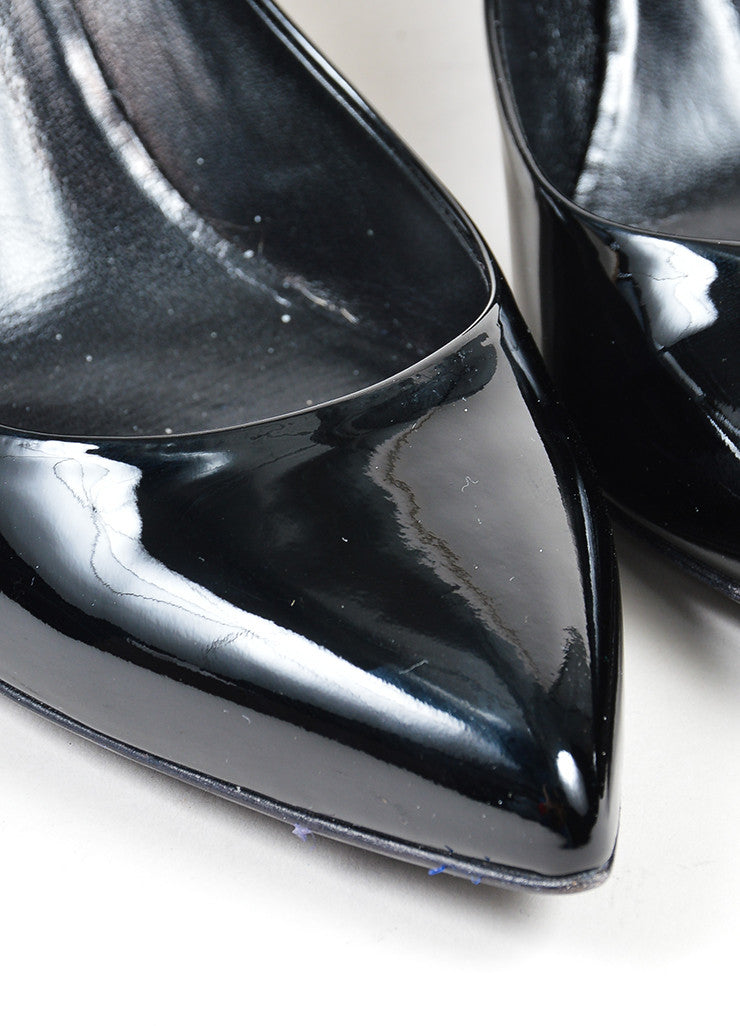 Black Gucci Patent Leather Pointed Toe 65mm Heel Pumps Detail