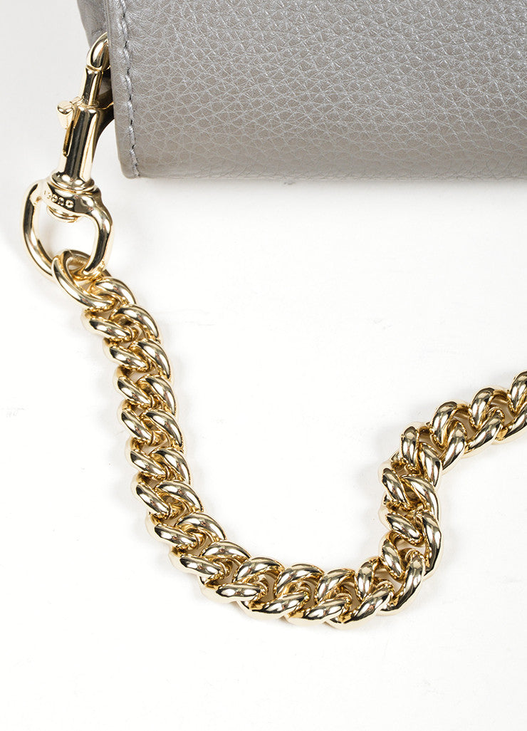 "Grey Gucci Pebbled Leather Chain ""Greenwich"" Evening Shoulder Bag Detail 2"