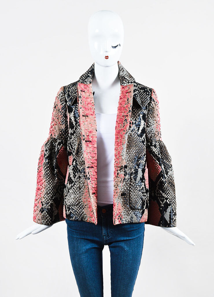 Black and Red Gucci Silk Snakeskin Jacquard Bell Sleeve Jacket Frontview